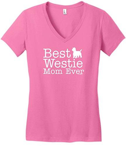 (West Highland Terrier Gifts West Highland Terrier Gifts Best Westie Mom Ever Juniors Vneck Medium TrPnk)