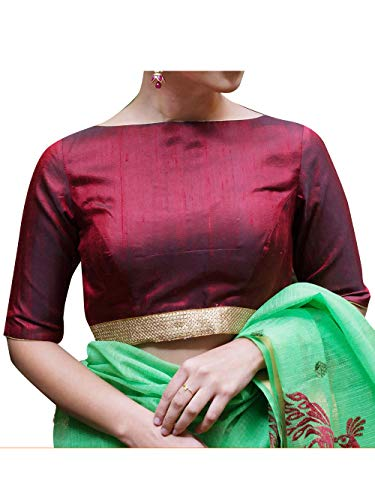 Women's Party Wear Readymade Bollywood Designer Indian Style Padded Blouse for Saree Crop Top Choli Maroon
