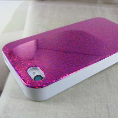 EMPIRE Apple iPhone 4 / 4S Poly Skin Case Étui Coque Cover Couverture (Hot Pink Rosa Sparkling Glitter)