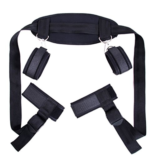 csbd Cosplay Adult Hand & Ankle Cuffs Strap Kit Bed Restraints Couple Flirt Toy for Party Game Restraint System Kit Medical Grade Adjustable Soft Wrist Set-04 by csbd