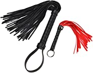 Horse Supply Riding Crop,Soft Faux Leather Crop Harness Handle Riding Crop with Extra Small Black Red Crop