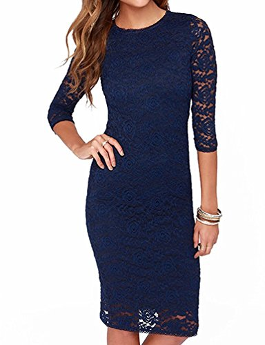 [sdk5SIUADT Fashion Women's Elegant Floral Lace 2/3 Sleeve Slim Evening Dress, Blue, US/6] (60s Dress Up Ideas)