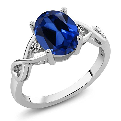 Gemstone Bands Diamond (2.36 Ct Oval Blue Simulated Sapphire White Diamond 925 Sterling Silver Ring (Size 7))