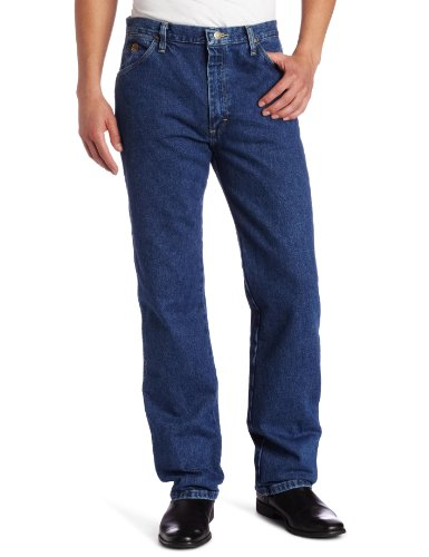 Heavyweight Cotton Denim Work Jeans - Wrangler Men's Big & Tall George Strait Cowboy Cut Original Fit Jean, Heavyweight Stone Denim, 33W x 38L
