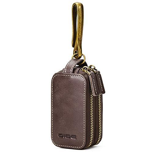 - DiDe Car Key Case Double Zipper Smart Key Chain Key Case Holder Wallet (Dark Brown)
