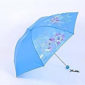 SBBCW Barómetro Plegable Doble MS UV La Impresión El Sombreado Sombrilla
