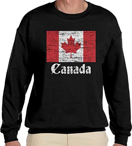 - Amdesco Men's Canada Flag Canadian Crewneck Sweatshirt, Black 2XL