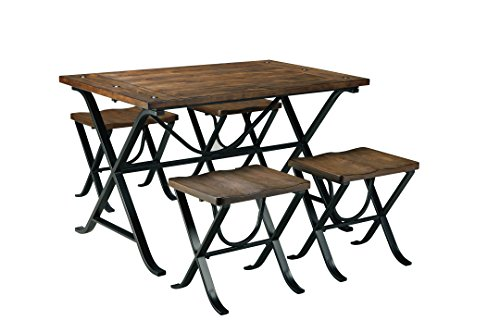 ashley furniture signature design freimore dining room table and stools set of 5 medium brown wood top and black metal legs