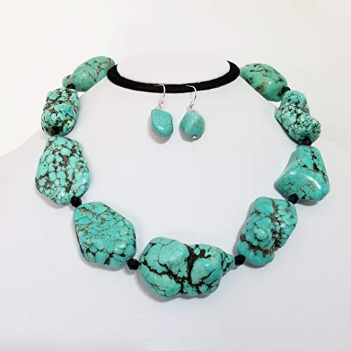 (Super Chunky Turquoise Nugget Beads Necklace Earrings One of a Kind)