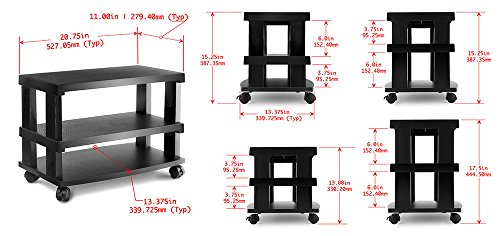 Aleratec 3 Tier Stand Entertainment Wheels product image