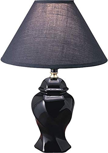 - SH Lighting Ceramic Swirl Style Jar Table Desk Lamp, 15