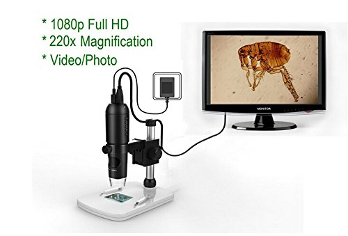 Emperor of Gadgets ® 1080P Full HD Digital Microscope, HDMI Microscope, 10x-220x magnification, to Any Monitor/TV with HDMI-In, Photo Capture, Micro-SD Storage, PC supported by Emperor of Gadgets