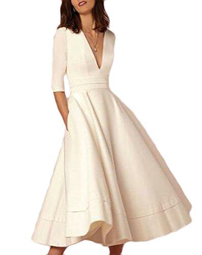 Jaycargogo Femmes Élégantes Robes Maxi Du Cou V Profond Manches Demi Swing Couleur Solide Blanc