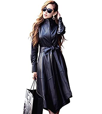 LAI MENG FIVE CATS Women's Instyles Faux Leather Long Gothic ...