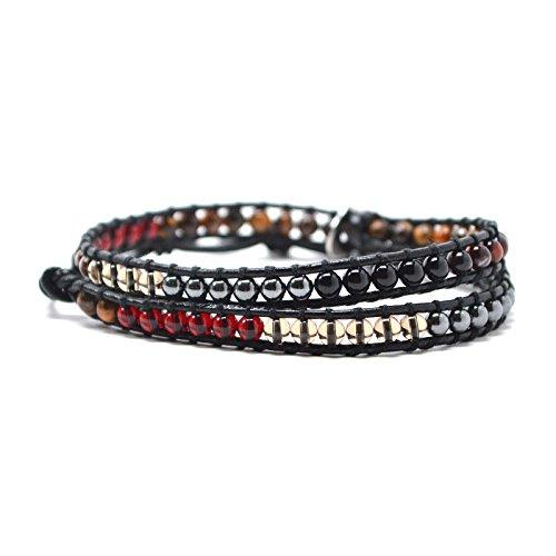 Gunmetal Cherry - Cherry Red Gunmetal Grey Black Clear Brown Agate Round Beads 23