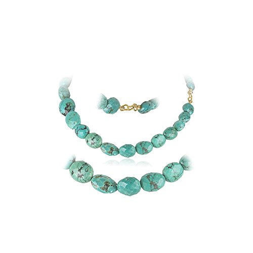 300.00 Cts AAA Beads Natural Turquoise (not Dyed) Necklace in 18K Yellow Gold - Valentine's Day (Triple Strand Turquoise Bead)