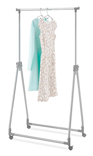 Whitmor Foldable Garment Rack - Rolling Clothes Hanger - Adjustable Height