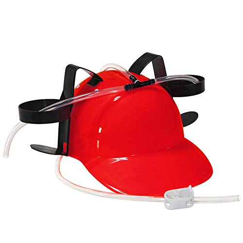 NiceWave Guzzler Drinking Helmet and Can Holder Drinker Hat Cap with Straw for Beer and Soda for Party Football Games Halloween Christmas Fun (Red) Fun Toy for Kids]()