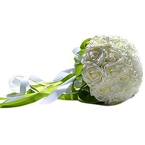 Estyle Fashion Wedding Brooch Bouquets Brides Bridal Bridesmaid Hodind Flowers Artificial Roses Decoration White 110
