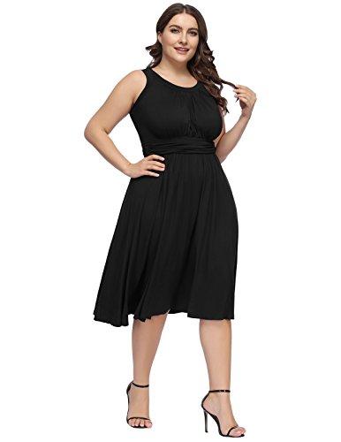 1950s Women's Sleeveless Vintage Hanna Black Nikole A Plus Line Size Dress ggYqXz0