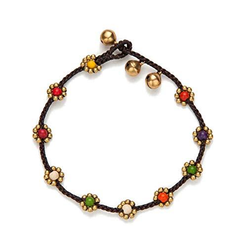 CTRCHUJIAN Handmade Simple Colorful Flower Charm Leg Anklet Female Beaded Chain Ankle Bracelet Anklet Foot