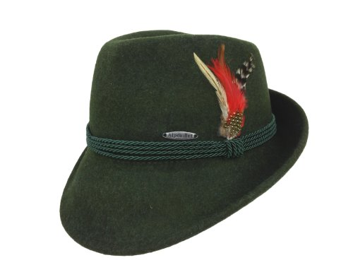 Essence Of Europe Gifts Men's Austrian & German Style Wool Hat W/Feather Medium Green ()