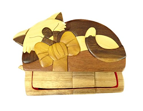 Cat with Bow Kitten Kitty Sleeping Hand-Carved Puzzle Box with No Paints! No Stains! Hidden Felt Lined Interior That hides Jewelry, Gift Cards, or Money. No Two Will Ever be Identical! Pet Carvers