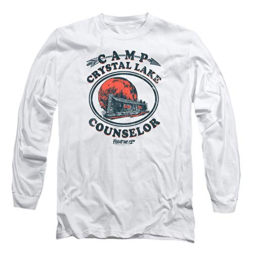 Friday The 13th Game Camp Crystal Lake Counselor Longsleeve T Shirt & Stickers (XXX-Large) White (Best Counselor Friday The 13th Game)