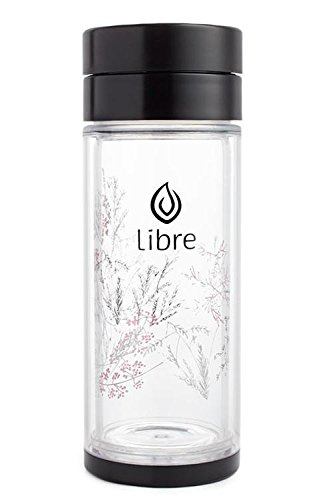 Libre 14oz Glass Tea Infuser Bottle with Mesh Strainer for Loose Leaf Tea, Matcha, Fruit, and Cold Brew Coffee, BPA-Free, Black Brush