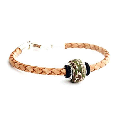 United States Army USA Multicam Deploy Deployment Camo Camouflage Charm Bead on Tan Natural Leather Braided Bracelet Sterling - Cami Braided