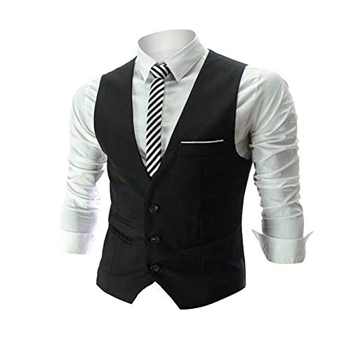Mens Vest Tux - Zicac Men's Top Designed Casual Slim Fit Skinny Dress Vest Waistcoat (L,Black)
