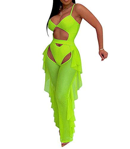 Women Sexy See Through Sheer Mesh 2 Pieces Outfits Jumpsuits Crop Top and Hollow Out Ruffle Long Pants Green