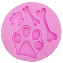 Assorted Sizes Dog Footprints and Bones Silicone Cake Decorating Moulds, Sugarcraft Fondant Gunpaste Cake Decoration Cupcake Topper Icing Sugarpaste Silicone Candy Mold Non Stick Sugar Paste, Chocolate, Butter, Resin, Cabochon, Polymer Clay, Fimo, Gum Paste, PMC, Wax, Candle, Soap Mold