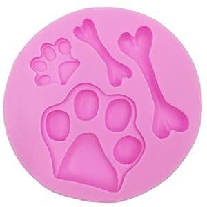 Molde de silicona forma huellas de perro y hueso para - Moldes silicona amazon ...