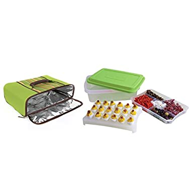 Rachael Ray Foodtastic Party Box with Universal Thermal Carrier, 6.8-Liter, Green
