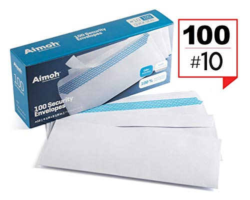 #10 Security Tinted Self-Seal Envelopes - No Window, Size 4-1/8 X 9-1/2 Inches - White - 24 LB - 100 Count (34100)