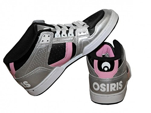 Osiris Skateboard Schuhe NYC 83 Mid Girls Silver/ Black/ Pink Sneakers Shoes