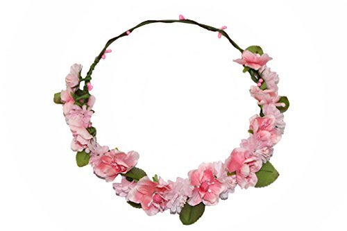HH Building Boho Cherry Blossom Flower Halo Crown Wedding Headpiece Hair Wreath (Blossom Crown)