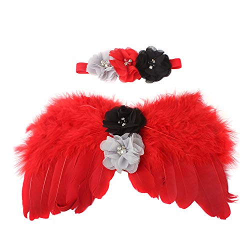 LISSO Newborn Photography Props Baby Girls Boys Feather Angel Wings Style Outfit with Flower Headband Custome Sets (Red)