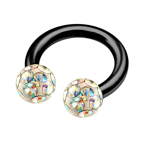(Anodized Titanium 5/16 8mm 14g Horseshoe Septum Ring Piercing Jewelry Tragus Eyebrow 4mm Aurora Borealis Ferido Crystal M5316)