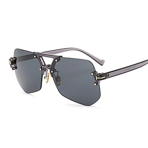 TIANLIANG04 Hombre De Rosa Irregular Amarillo grey Sin Para Sol De Transparente Gafas Marco Gafas Transparente Sol Reborde RqrSRxw