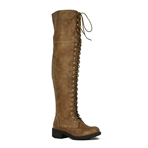 WestCoast Women's Over The Knee Boots Tall Lace Riding Boots Thigh High Combat Boots Taupe ()