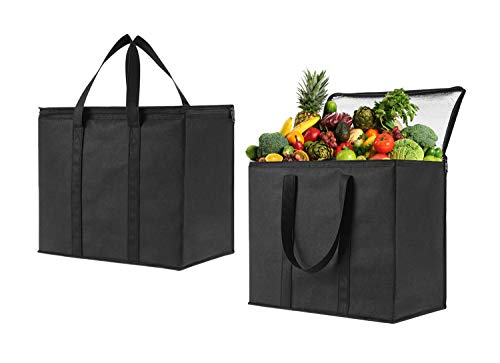 2 Pack Insulated Reusable Grocery Bag by VENO, Durable, Heavy Duty, Extra Large Size, Stands Upright, Collapsible, Sturdy Zipper, Made by Recycled Material, Eco-Friendly (BLACK, 2) -