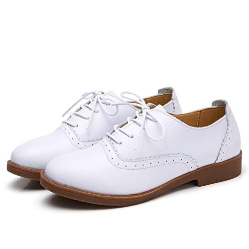 British Style Women Oxford Shoes Lace Up Flats Shoes Women Genuine Leather Casual Shoes,White,7]()
