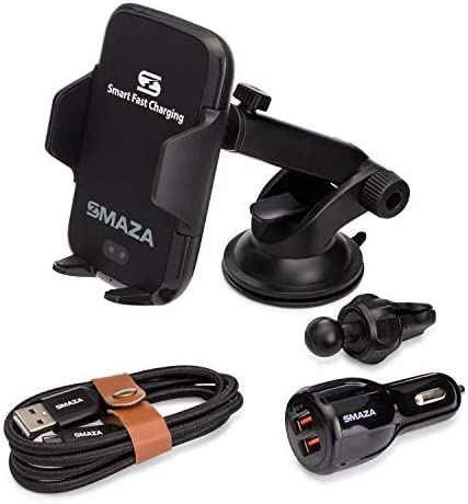 SMAZA Wireless Charger Car Mount, Hands Free Phone Holder, Infrared Auto Sensing Qi Fast Charging, Windshield, AC Air Vent, Dash for iPhone, Samsung and Pixel – Complete Kit with Braided USB-C Cable.