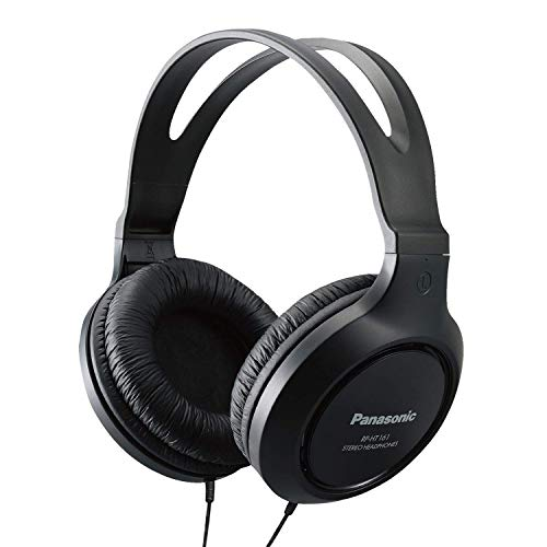 - Panasonic Headphones RP-HT161-K Full-Sized Over-the-Ear Lightweight Long-Corded (Black) (Renewed)
