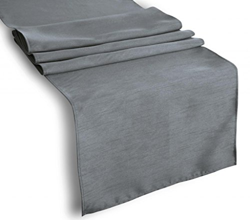 "Creative 13""x 108"" Classic Solid Table Top Runner - Charcoal"