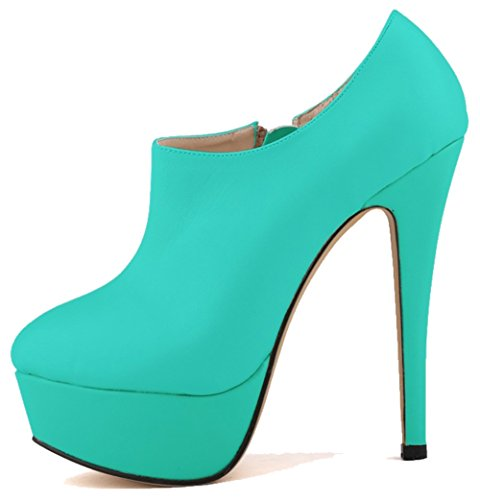 Side Stylish Stilettos Round High Boots Toe Women's Green Zipper Aisun Platform 0UFgq5nx