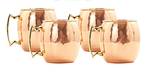 Deco 89 CO001 18 Ounce Drinking Mug, Set of 4 Moscow Mule Hammered Copper by Deco 89 (Image #3)