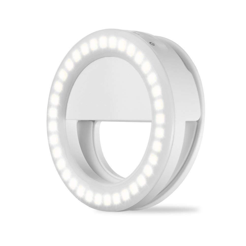 Reqo Selfie Ring Light Led Lighting Ring for iPhone Cell Phone Camera Mini Clip on 36 LED Bulbs Rechargeable Circle Light iPad Samsung White (Lights)
